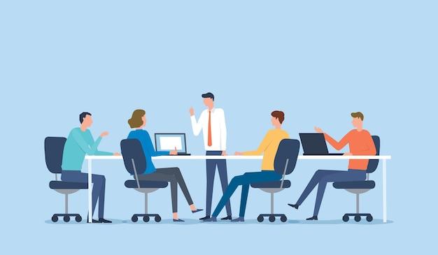 Spotkanie Zespołu Biznesowego Dla Koncepcji Burzy Mózgów Premium Wektorów