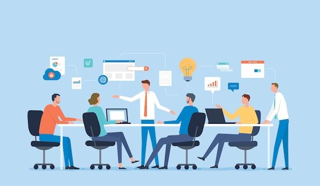 Spotkanie Zespołu Biznesowego W Celu Przeprowadzenia Burzy Mózgów Premium Wektorów