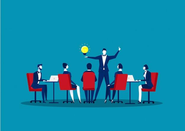 Spotkanie Zespołu W Koncepcji Biznesowej. Grupa Biznesmenów Robi Dyskusji Komunikacji Pracy Zespołowej. Pomysł Myślenia. Premium Wektorów