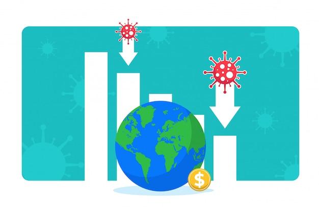 Spowolnienie Gospodarcze Z Powodu Blokady Bezpieczeństwa Podczas Pandemii Covid-19. Wykresy Słupkowe I Strzałki W Dół, Glob I Znak Dolara. Spadek Produkcji, Sprzedaży, Inwestycji. Wpływ Koronawirusa Na Globalną Gospodarkę. Premium Wektorów