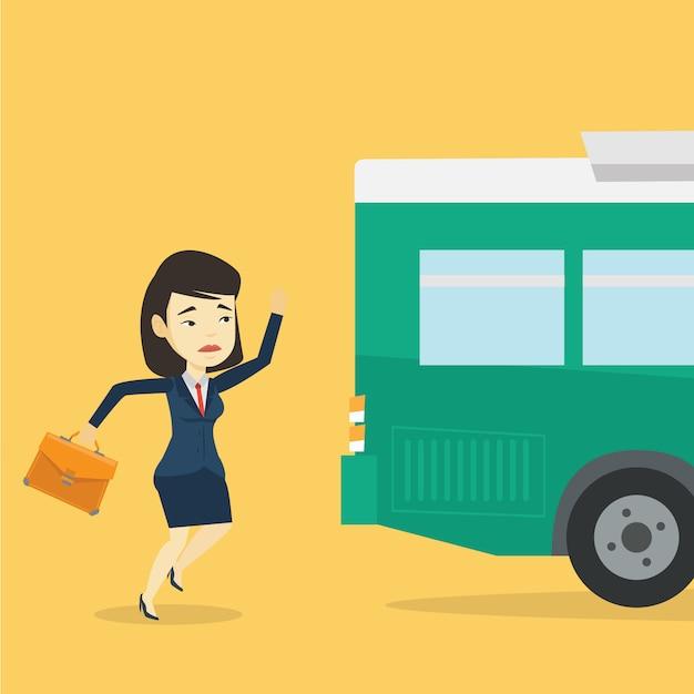 Spóźniona Kobieta Biega Do Autobusu. Premium Wektorów