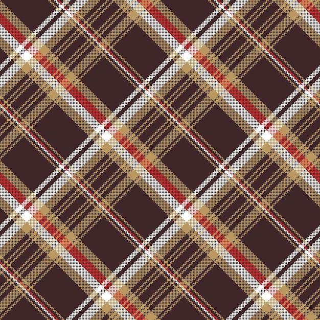 Sprawdź Teksturę Bezszwowej Tkaniny Brązowy Kratę Premium Wektorów