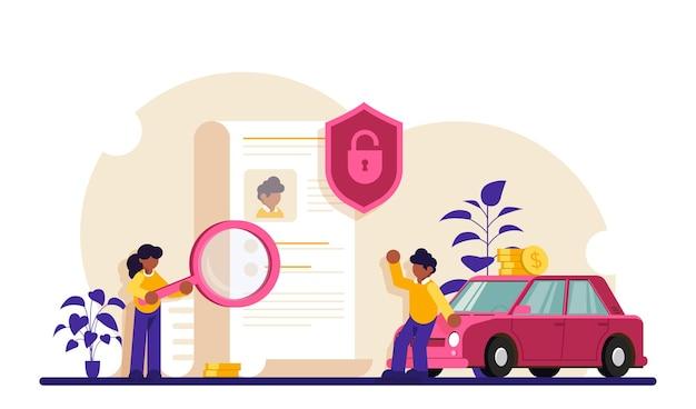 Sprawdzanie Dokumentów. Postacie Zawierają Umowę. W Pobliżu Samochodu Stoją Osoby Z Dokumentem. Premium Wektorów