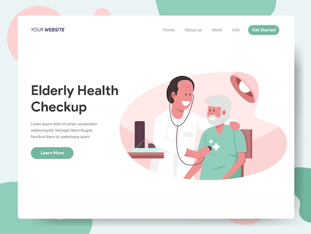 Sprawdzanie Stanu Zdrowia Osób Starszych Z Banerem Doctor Na Stronę Docelową Premium Wektorów