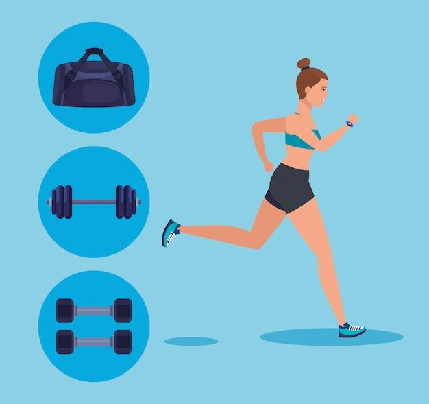 Sprawności Fizycznej Kobiety Bieg Z Torbą I Ciężar Z Dumbbells Premium Wektorów