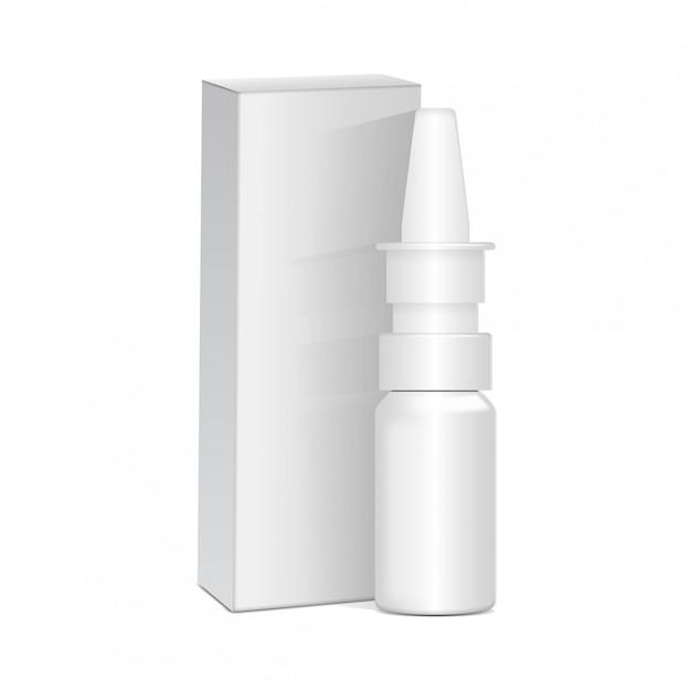 Spryskaj środki Antyseptyczne Do Nosa Lub Oczu. Biała Plastikowa Butelka Z Pudełkiem. Przeziębienie, Alergie. Realistyczny Premium Wektorów
