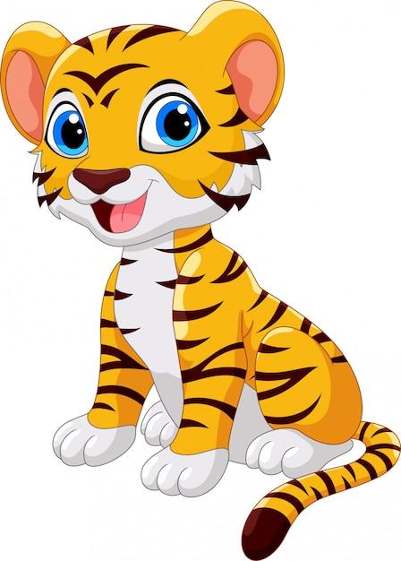 Sprytny, Tygrys, Rysunek   Premium Wektor
