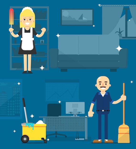 Sprzątaczki Na Biurowej Ilustraci Premium Wektorów