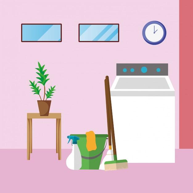 Sprzątanie domu pralnia Premium Wektorów