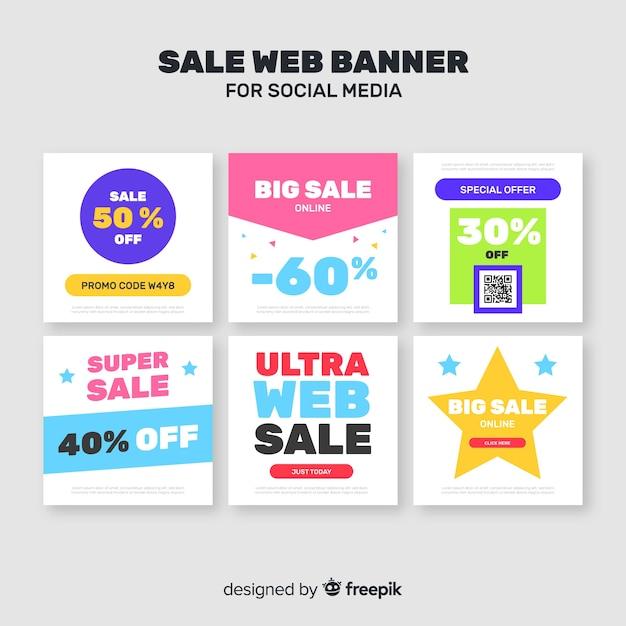 Sprzedam baner internetowy dla mediów społecznościowych Darmowych Wektorów