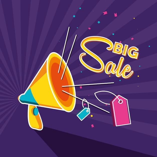 Sprzedam duży baner z megafonem i tagami Premium Wektorów
