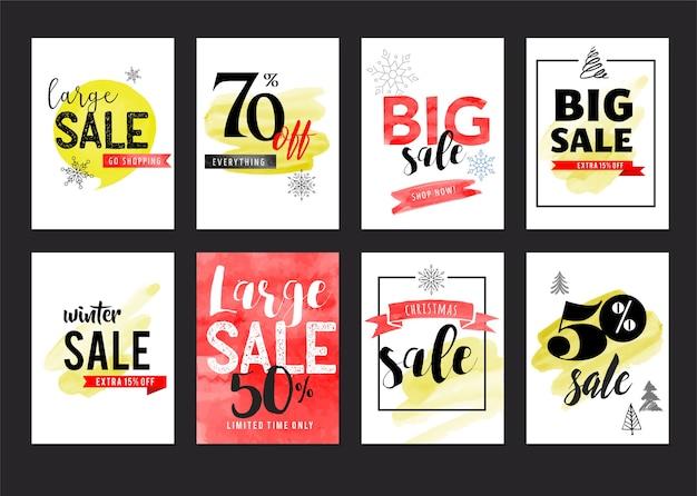 Sprzedam Metki, Etykiety. świąteczna Wyprzedaż Kolorowa Akwarela Premium Wektorów