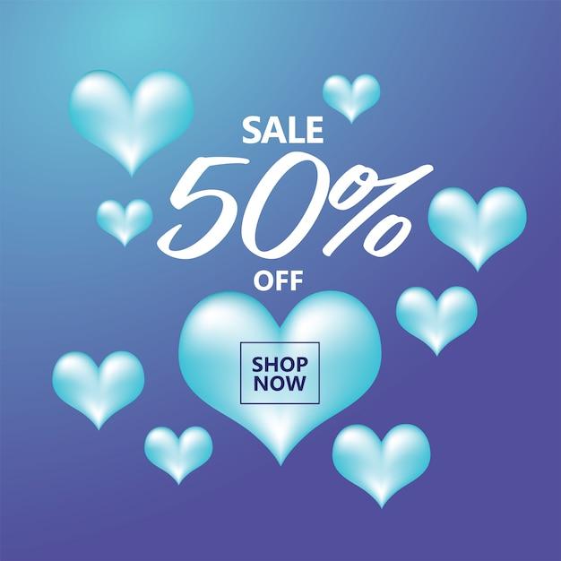 Sprzedam szablon transparentu z niebieskimi sercami wokół kształt kwadratu Premium Wektorów