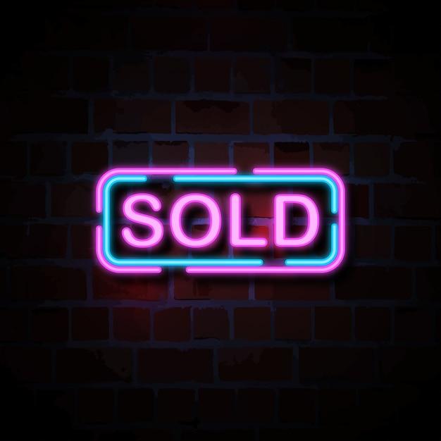 Sprzedane Neon Ilustracja Styl Znak Premium Wektorów