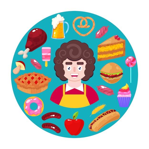 Sprzedawca i fast food Premium Wektorów