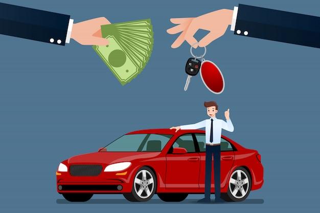 Sprzedawca Samochodów Sprzedaje Samochód. Premium Wektorów