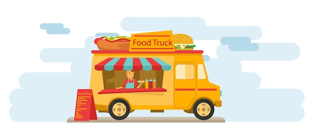Sprzedawca żywności Na Ulicy W Centrum Premium Wektorów