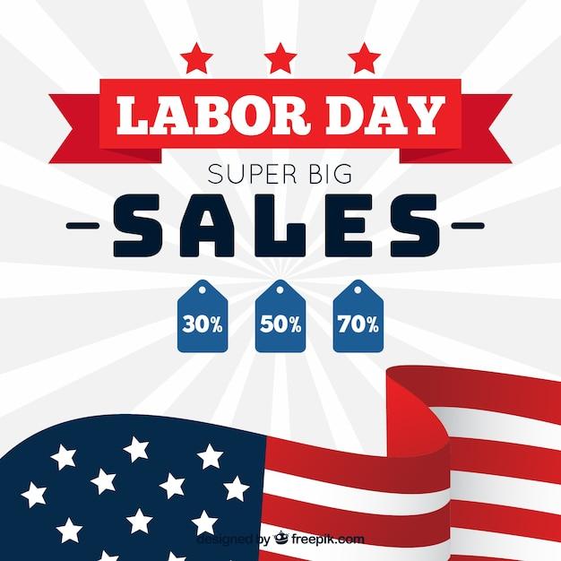 Sprzedaż Amerykańskich Dni Pracy Z Płaskiej Konstrukcji Darmowych Wektorów