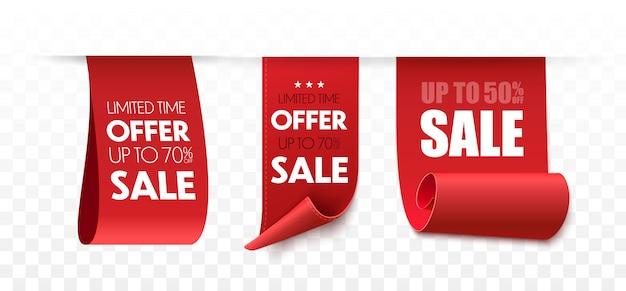Sprzedaż Banerów. Zestaw Tagów Ofert. Premium Wektorów