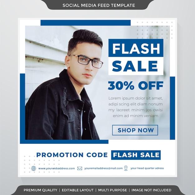Sprzedaż Błyskawiczna Reklamy W Mediach Społecznościowych Szablon Stylu Clea Premium Wektorów