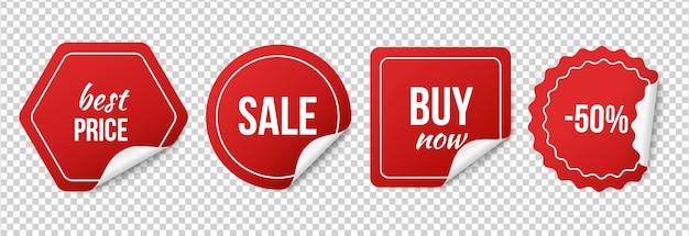 Sprzedaż. Czerwone Naklejki Sprzedaży, Promocje I Rabaty. Premium Wektorów