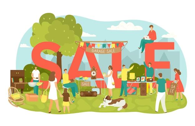 Sprzedaż Garażu Na Podwórku Z Ilustracją Sprzedaży Napis. Ludzie Kupują I Sprzedają Artykuły Gospodarstwa Domowego, Odzież, Artykuły Sportowe I Zabawki. Sprzedaż Garażu Starych Zabytkowych Przedmiotów I Mebli Na Pchlim Targu. Premium Wektorów