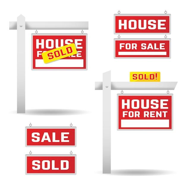 Sprzedaż Kolekcji Znaków Nieruchomości Darmowych Wektorów