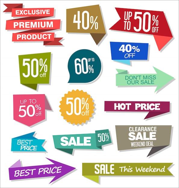 Sprzedaż kolorowych odznak i majcherów projekta ilustracja Premium Wektorów