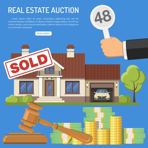 Sprzedaż Nieruchomości Na Aukcji Premium Wektorów