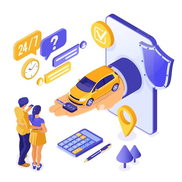 Sprzedaż Online, Zakup, Koncepcja Izometryczna Wynajmu Samochodu Premium Wektorów