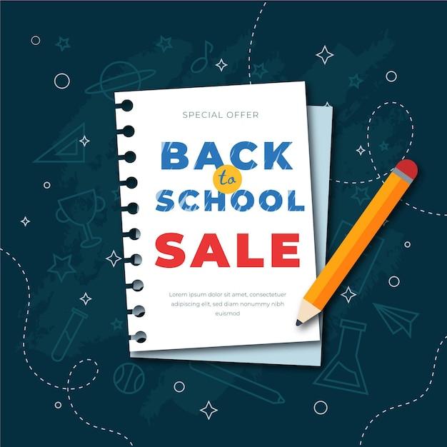 Sprzedaż Płaska Z Powrotem Do Szkoły Darmowych Wektorów