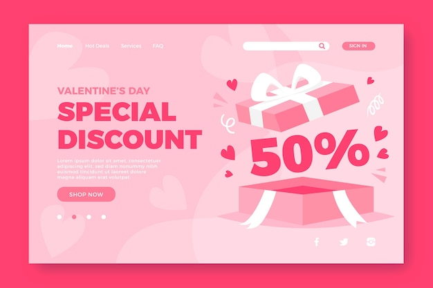 Sprzedaż Strony Docelowej Na Walentynki Darmowych Wektorów