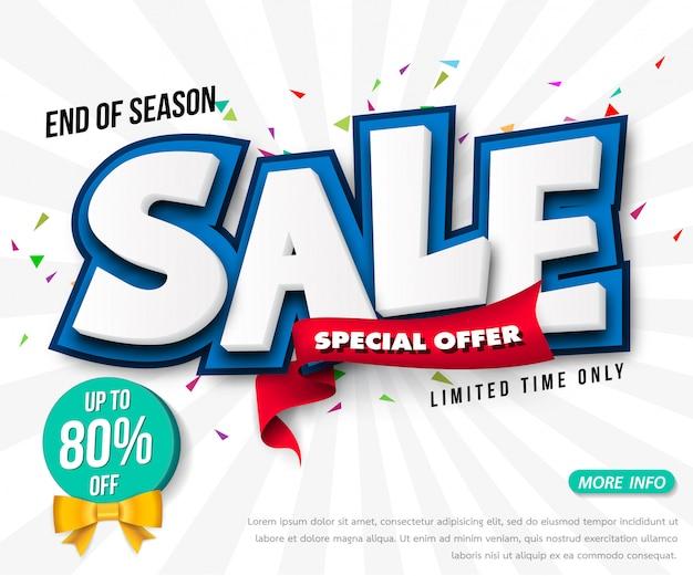 Sprzedaż Szablonów Banerów Sprzedażowych, Specjalna Wyprzedaż Specjalna Do 80% Zniżki. Super Wyprzedaż, Koniec Oferty Specjalnej Banner. Premium Wektorów