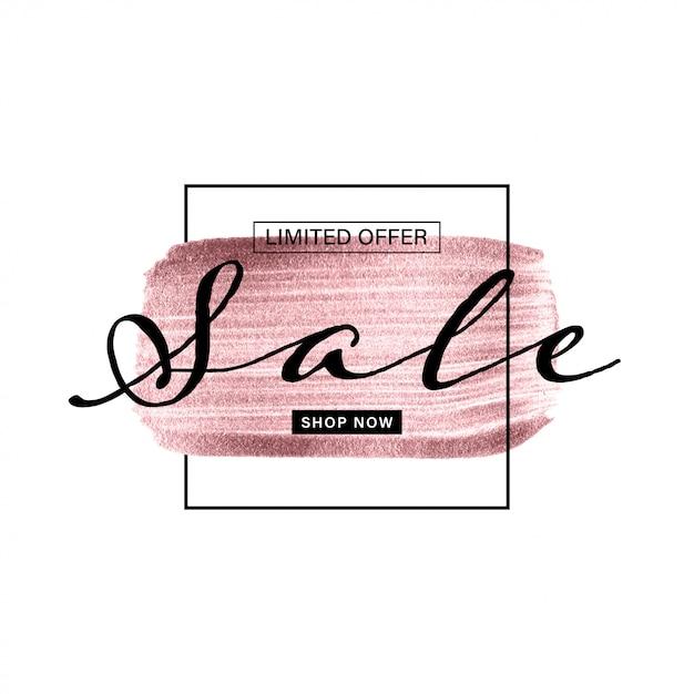 Sprzedaż transparentu z różowego złota ręcznie malowane pędzlem na białym tle Premium Wektorów