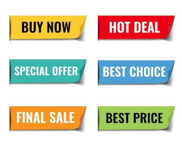 Sprzedaż Web Wstążki Duży Zestaw Białym Tle Premium Wektorów