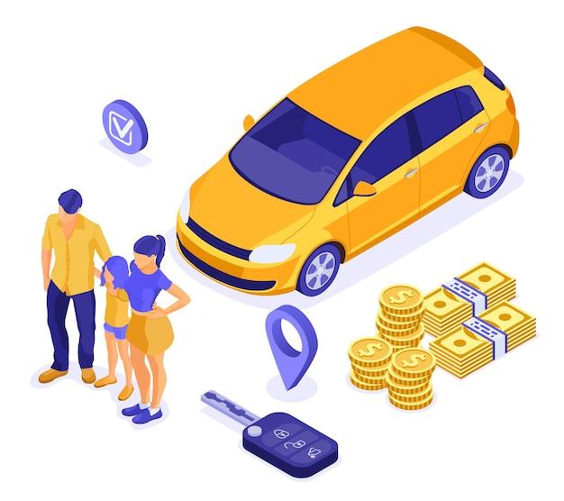 Sprzedaż, Zakup, Wynajem Samochodu Izometrycznego Koncepcja Do Lądowania, Reklama Z Samochodem, Kluczem, Rodziną Z Dzieckiem. Premium Wektorów