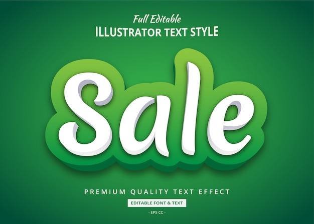 Sprzedaż Zielony Efekt Stylu Tekstu 3d Premium Wektorów