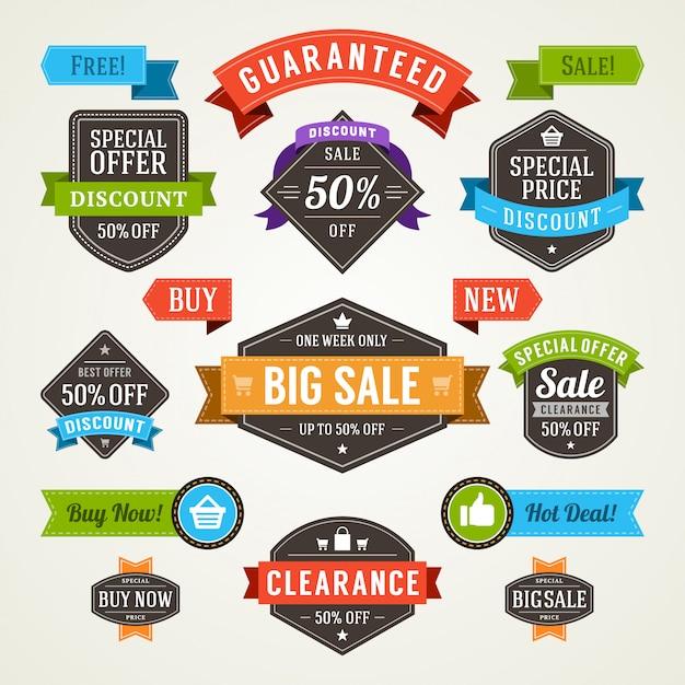 Sprzedaży etykiet i faborków ustawiają projekta elementów premii ilości odznaki wektoru ilustrację. Premium Wektorów