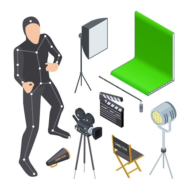 Sprzęt Do Produkcji Filmów Izometrycznych Premium Wektorów