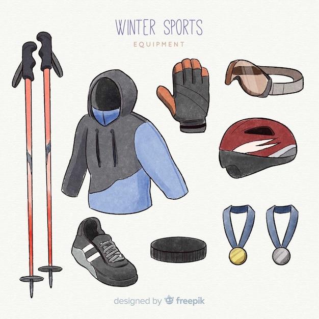 Sprzęt do sportów zimowych płaski Darmowych Wektorów