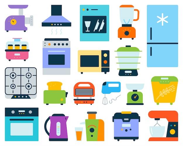 Sprzęt kuchenny, sprzęt elektroniczny płaski zestaw. Premium Wektorów
