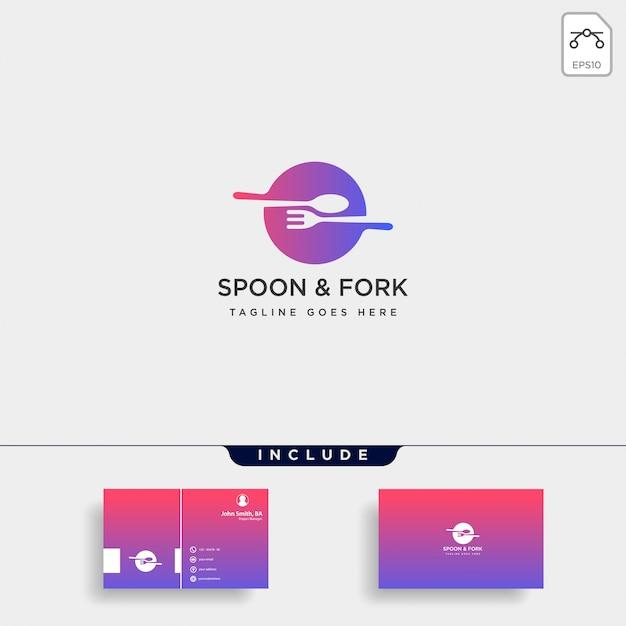 Sprzętu żywności widelec łyżka szablon ikona ilustracja element Premium Wektorów