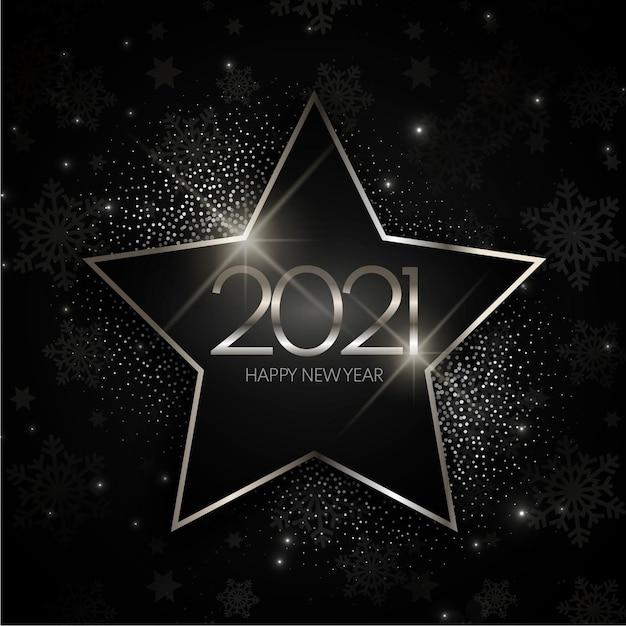 Srebrna Gwiazda Nowy Rok 2021 Tło Darmowych Wektorów