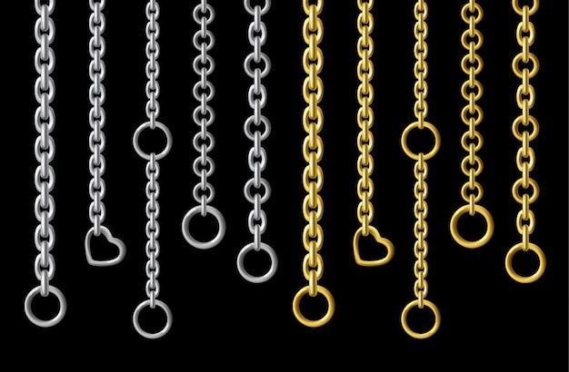 Srebrne I Złote Metalowe łańcuszki W Realistycznym Stylu Darmowych Wektorów