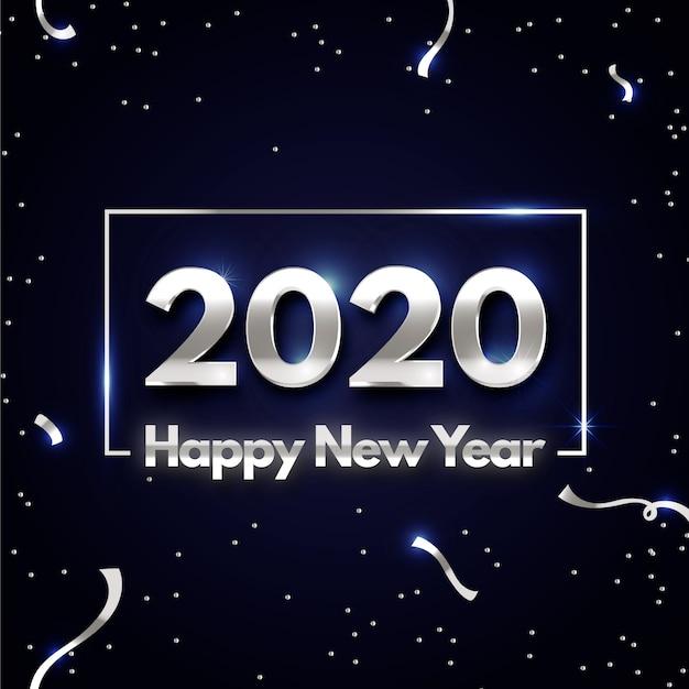 Srebrne tło nowego roku 2020 Darmowych Wektorów