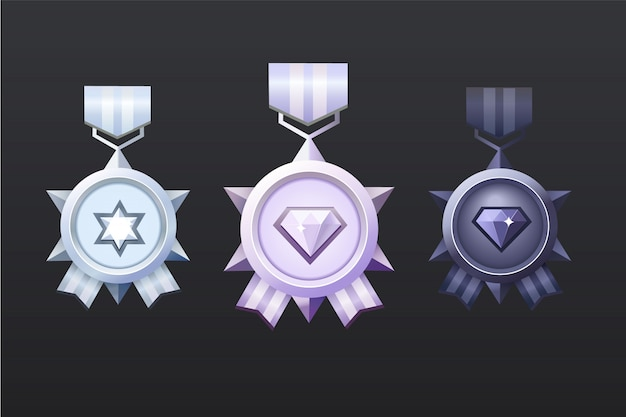 Srebrny, Czarny, Jasnoróżowy Zestaw Nagród Dla Interfejsu Użytkownika Gry. Premia Premium Wektorów