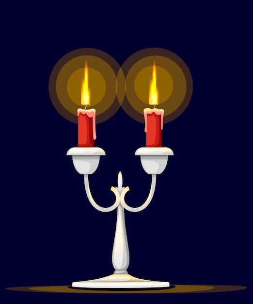 Srebrny Kandelabr Z Płonącą Czerwoną świecą Premium Wektorów