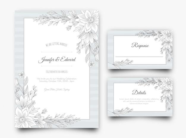 Srebrny kwiatowy zaproszenie na ślub Premium Wektorów