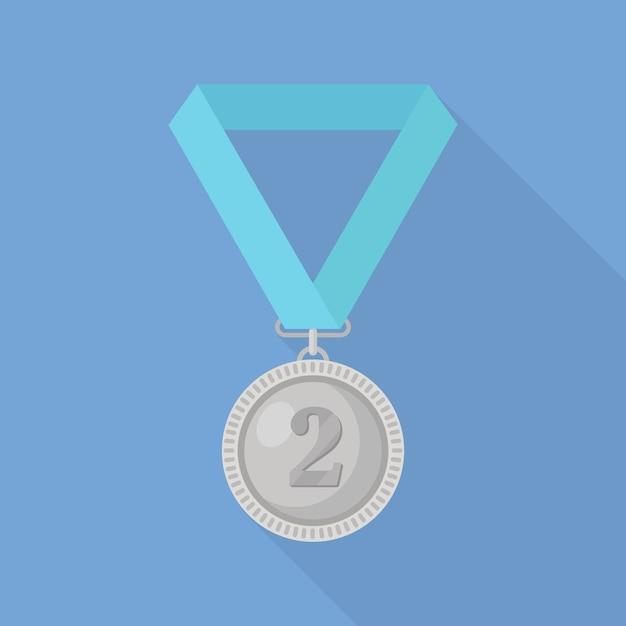 Srebrny Medal Z Niebieską Wstążką Za Drugie Miejsce. Trofeum, Zwycięzca Nagroda Na Białym Tle Na Tle. Premium Wektorów