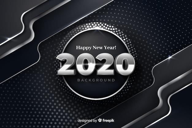 Srebrny nowy rok 2020 na metalicznym tle Darmowych Wektorów